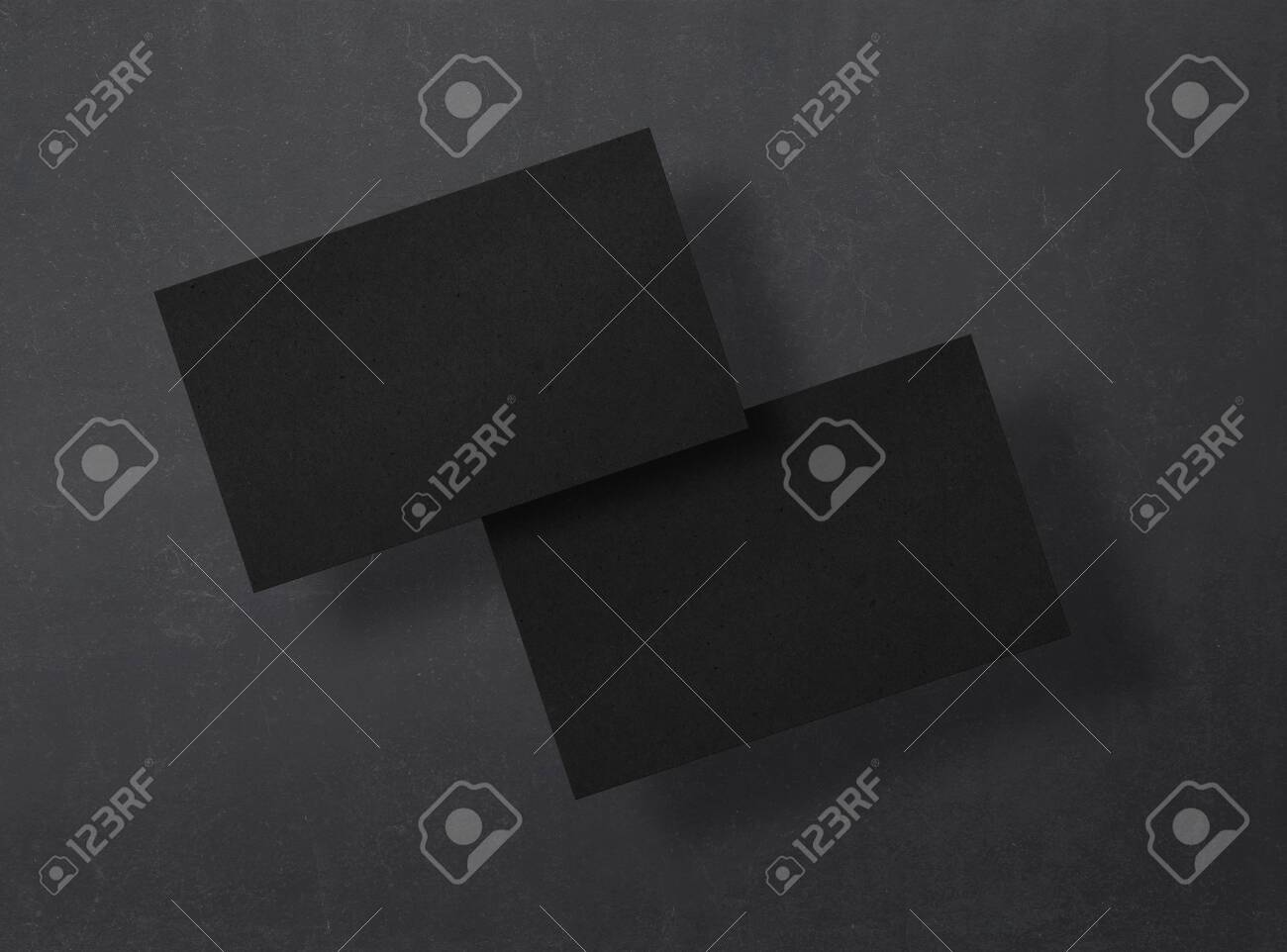 Black business cards on a black background. Mockup. Corporate templates, identity design, company style. Top view. - 150177833