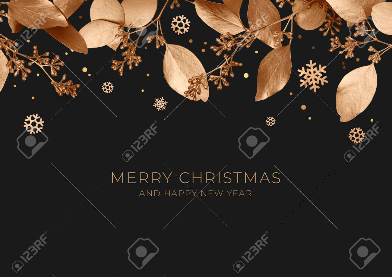 Christmas banner with golden leaves and snowflakes on a dark background. Design element for new year cards. Template of a greeting poster for the winter holidays. 3d illustration. Top view. - 150522735