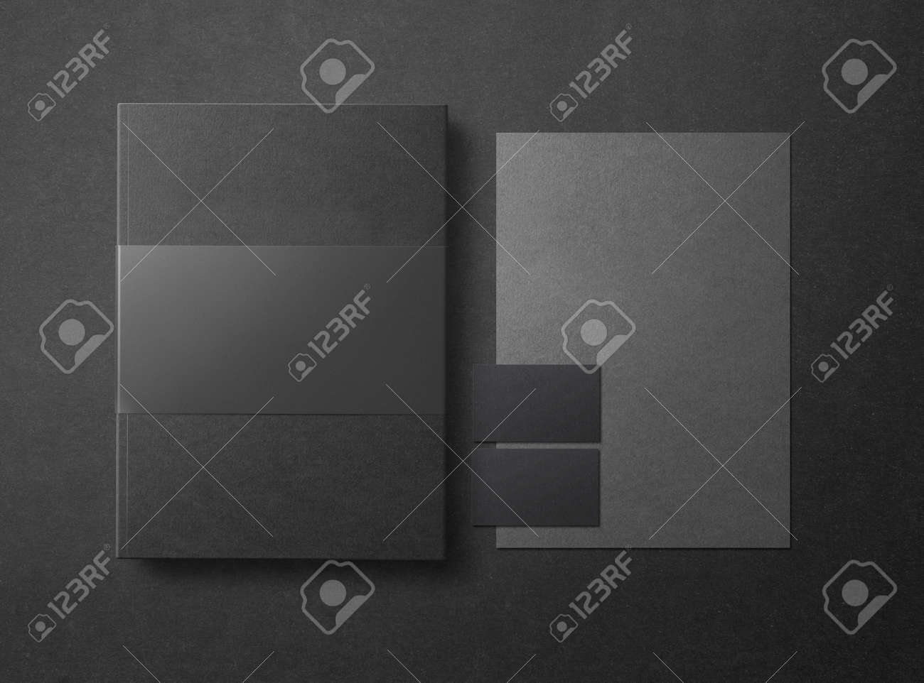 Mock-up. Template for branding identity. Blank objects for placing your design. Sheets of paper, business cards and folder. 3d illustration - 152369667