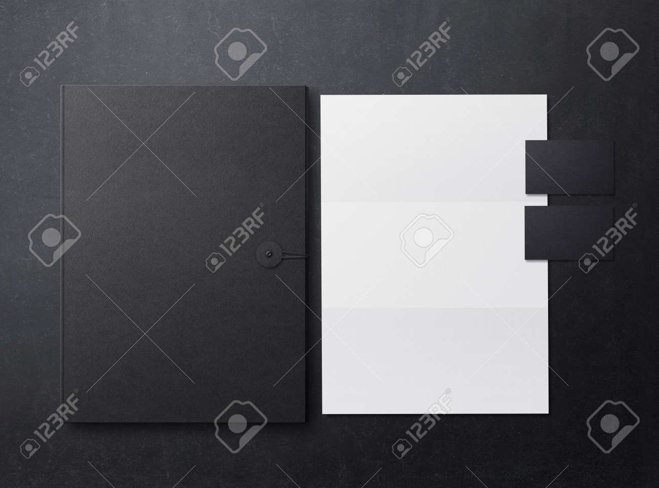 Brand identity mockup. Template for branding identity. Blank objects for placing your design. Sheets of paper, folder and business cards. 3d illustration. - 152369668