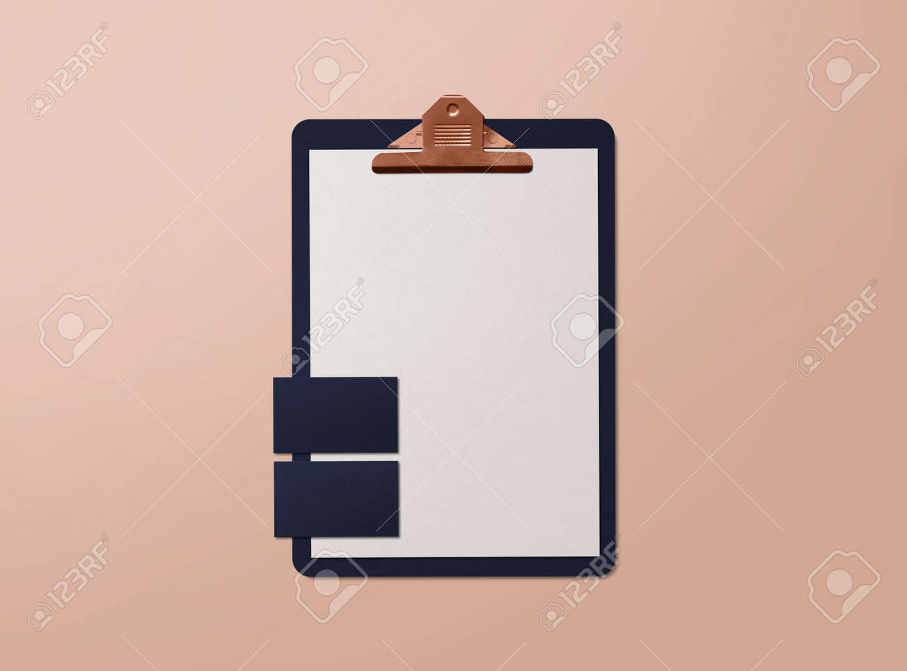 Realistic mockup. Clipboard with sheets of paper and business cards on background. Template for branding identity. Blank objects for placing your design. 3d illustration. - 152369669