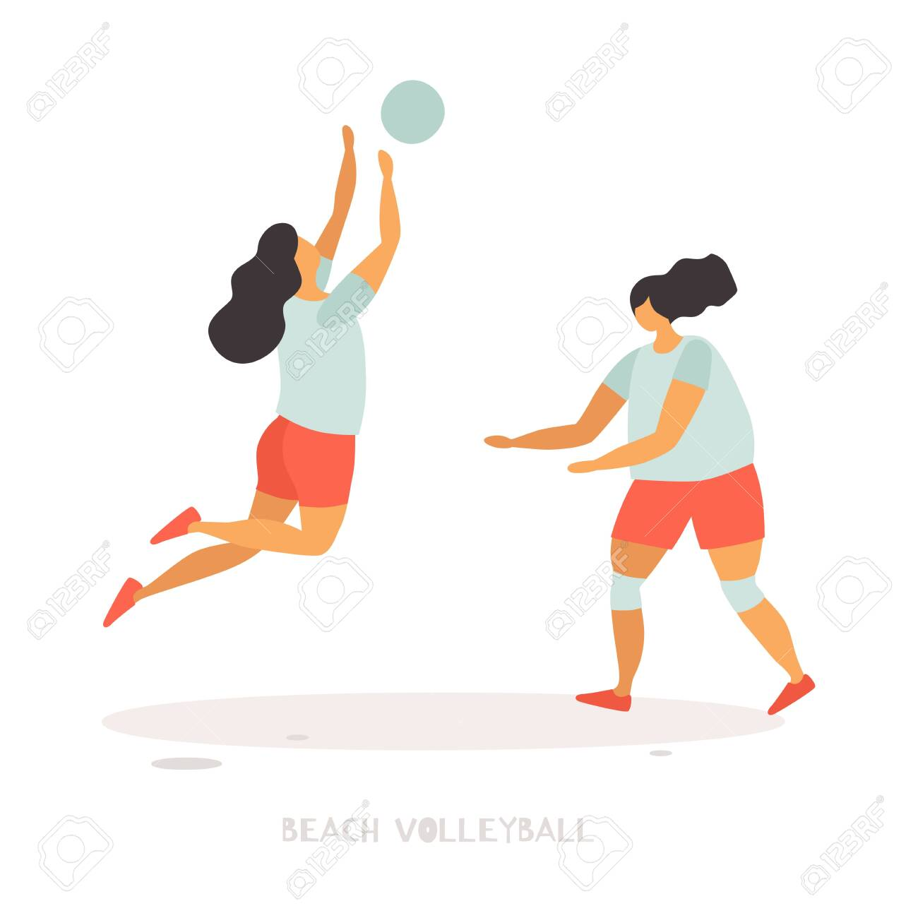 Young girls play beach volleyball. Popular summer sports and outdoor activities. Vector flat illustration on white isolated background. - 150572900
