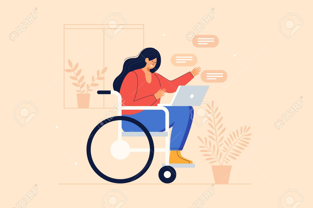 Young joyful girl in a wheelchair communicates via internet applications on a laptop. Communication and correspondence through social networks of people with reduced mobility. Vector illustration. - 150708097