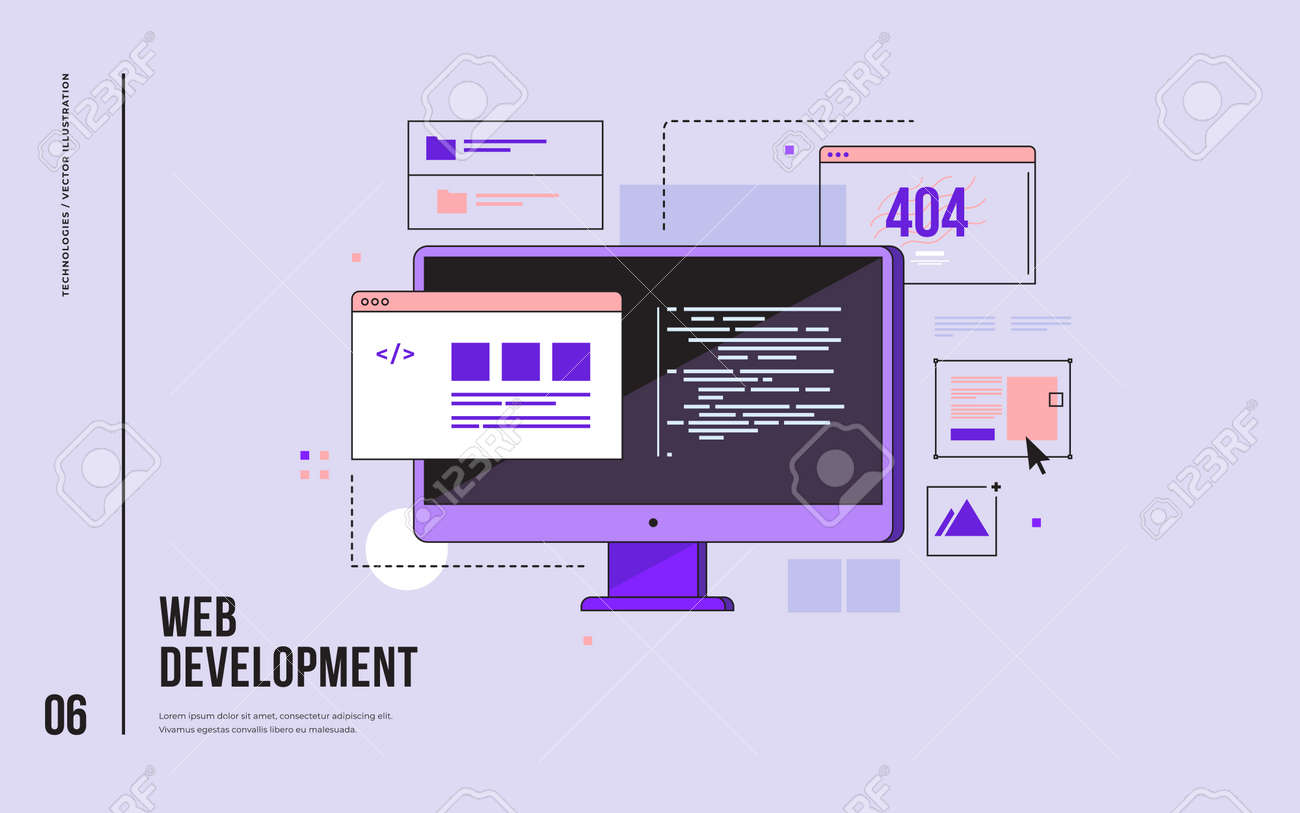 Concept of web development, programming, coding and web design. Monitor with program code on screen and open web pages. Digital industry. Innovations and technologies. Vector flat illustration. - 150571978