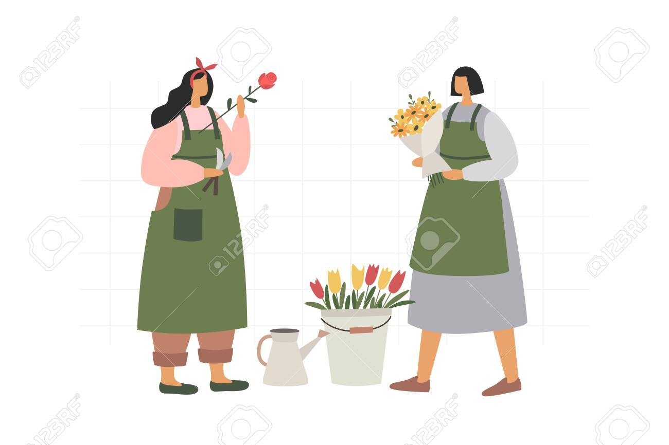 Two girls collect and arrange bouquets on a white isolated background. Florists sell flowers and flower arrangements as a gift and for decoration. Illustration in trendy flat style. - 150823951