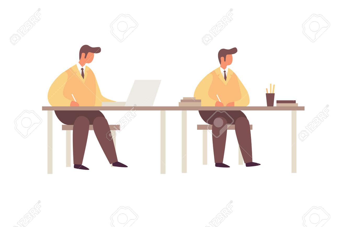 Cartoon young businessmen working at the table on white isolated background. The concept of communication. Teamwork in a command of business people. - 150823960