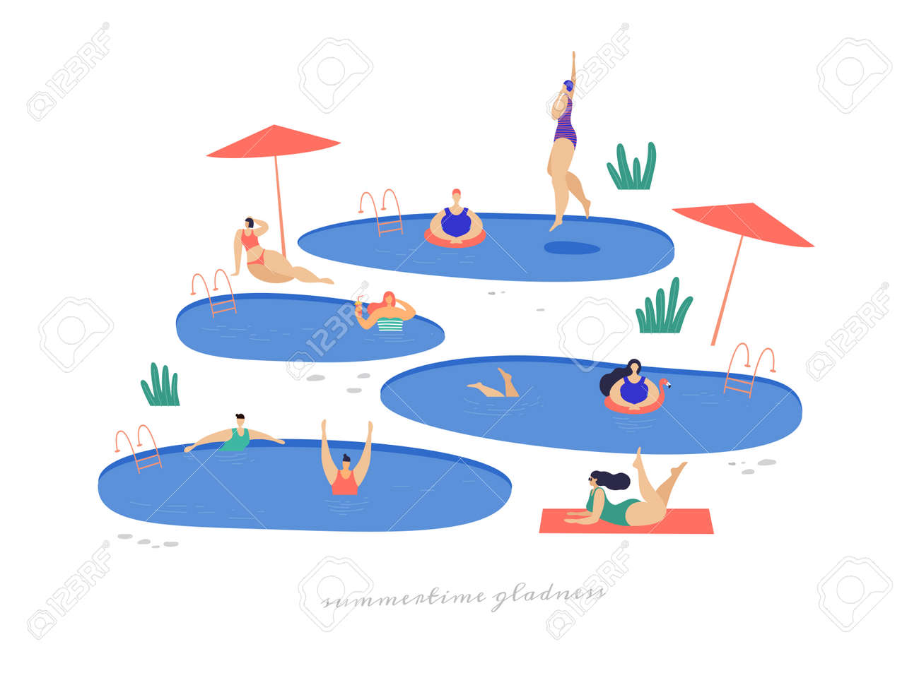 Cute girls by pool relax and spend their leisure time in fresh air. Young girls in bathing suits sunbathe and swim. Summer vacation on the beach. Illustration in trendy flat style. - 150823982