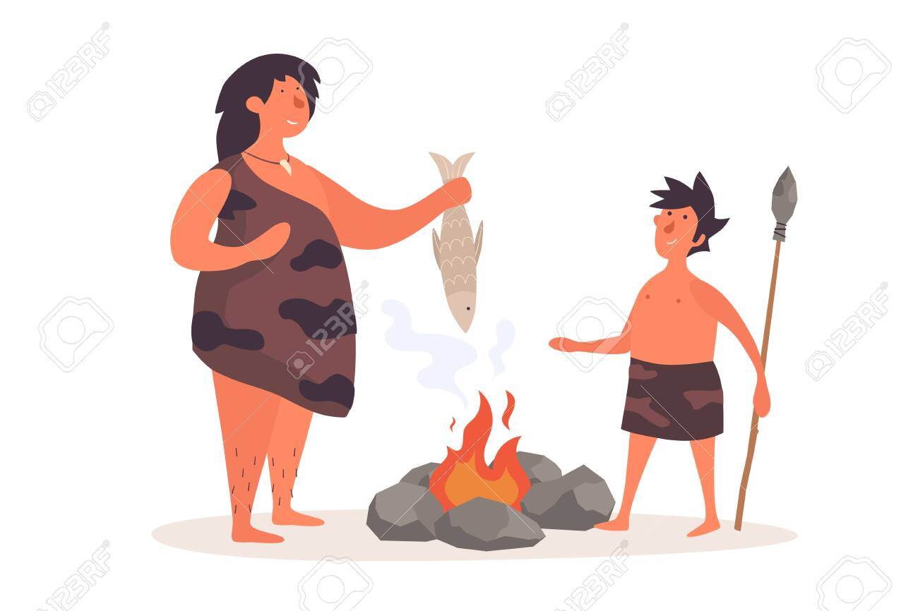 A primitive woman, dressed in pelt, holds a fish and talks to her child. The life of Neanderthals and cavemen. Flat illustration on white isolated background. - 150823983
