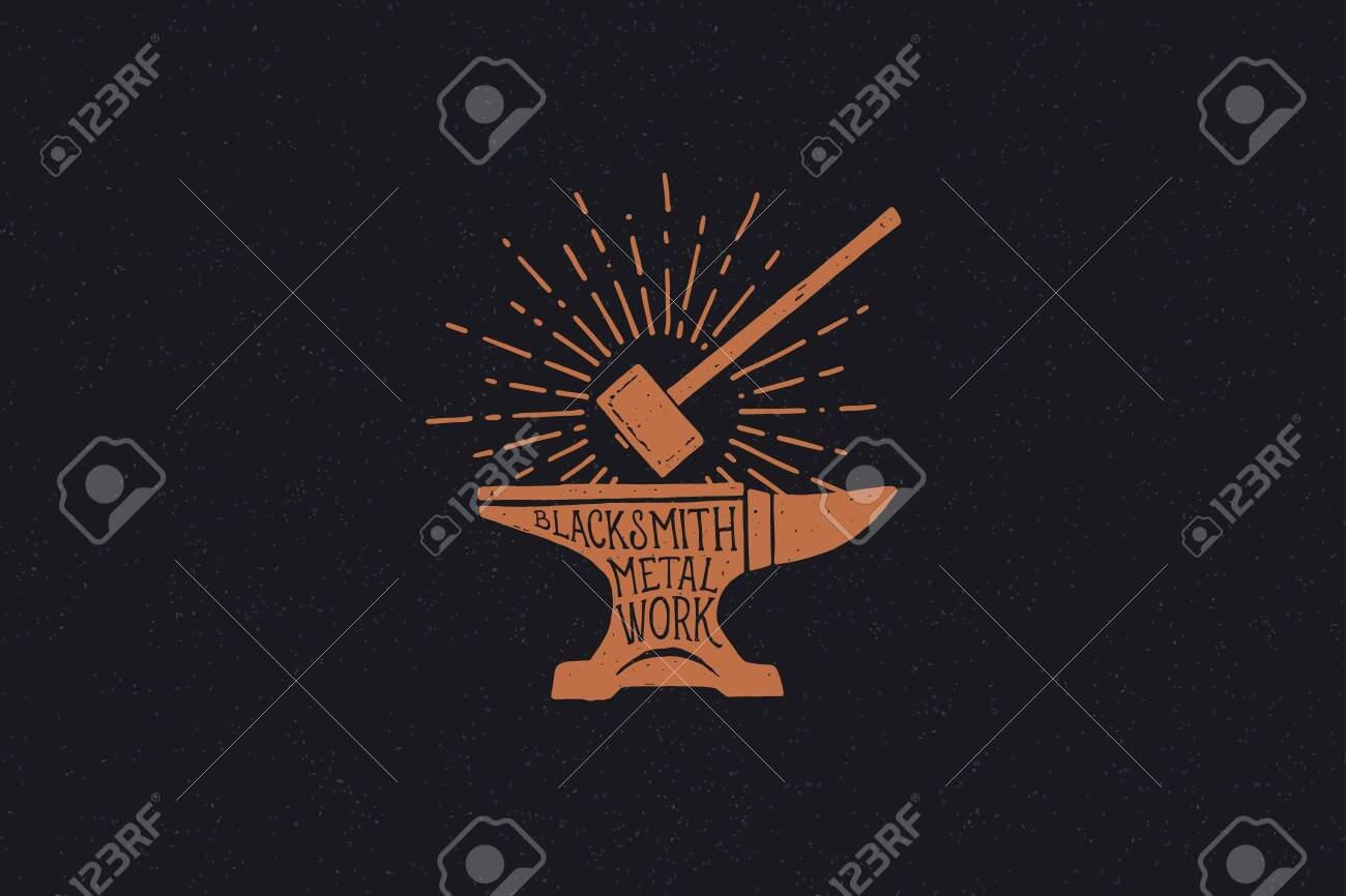 Hand drawn hammer and anvil in the rays of light. Black metal work. Blacksmithing vintage label. Monochrome style. - 150824551