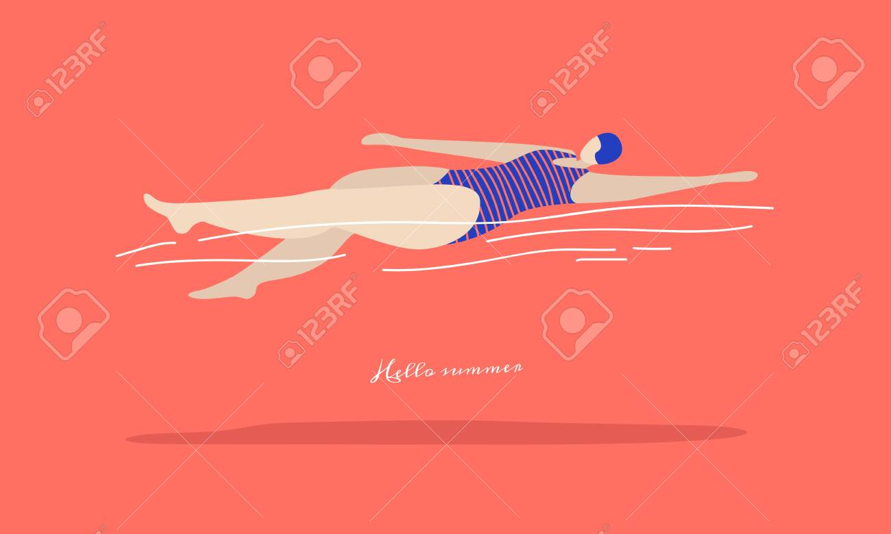 Fast swimming young woman in a striped swimsuit on a coral background. Types of swimming- crawl on the back. Illustration in trendy flat style. - 150824689