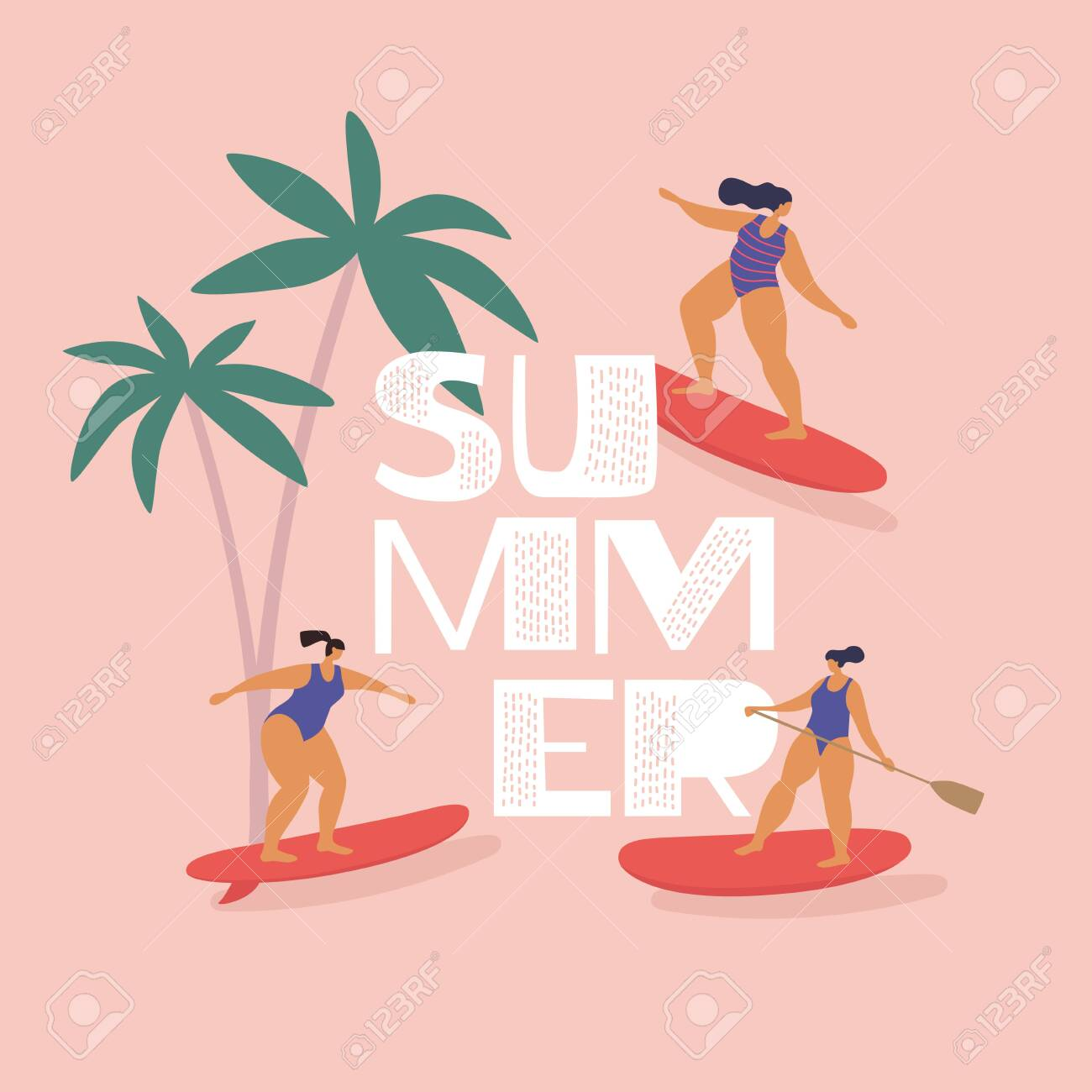 Cute girls in swimsuits ride surfing and sup-surfing. Rest in summer on tropical sea. Trendy types of water activities. Illustration in flat style on isolated background. - 150824854