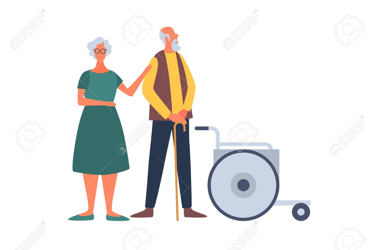 Elderly married couple and wheelchair. Help for the elderly and sick people. The concept of comfortable life in old age. People of old age in different situations. - 151406561