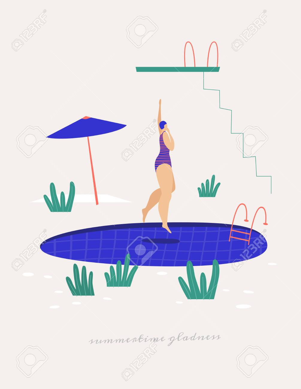 Cute girl in a bathing suit jumping into the pool. Leisure activities near the water in the summer. - 151406564
