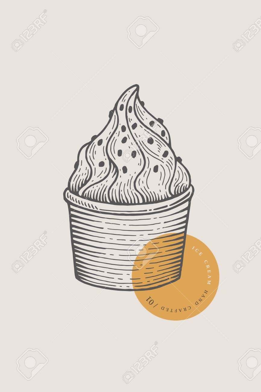 Graphically hand-drawn ice cream in a paper cup. Engraving with a cold delicacy for the menu of restaurants, for packaging in markets and in shops. - 151406571