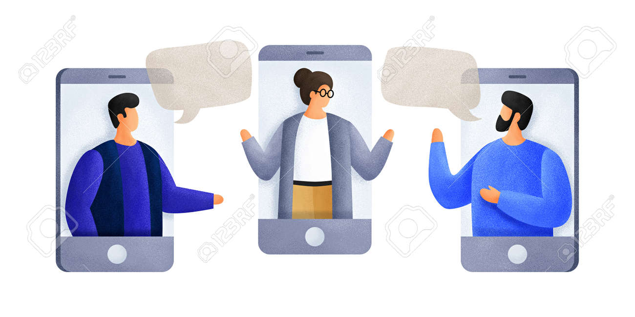 Chatting with colleagues using mobile phones. Young men of talk to each other, discuss news, social networks. Colleagues are negotiating. People with speech bubbles dialogs. Illustration. - 151407070