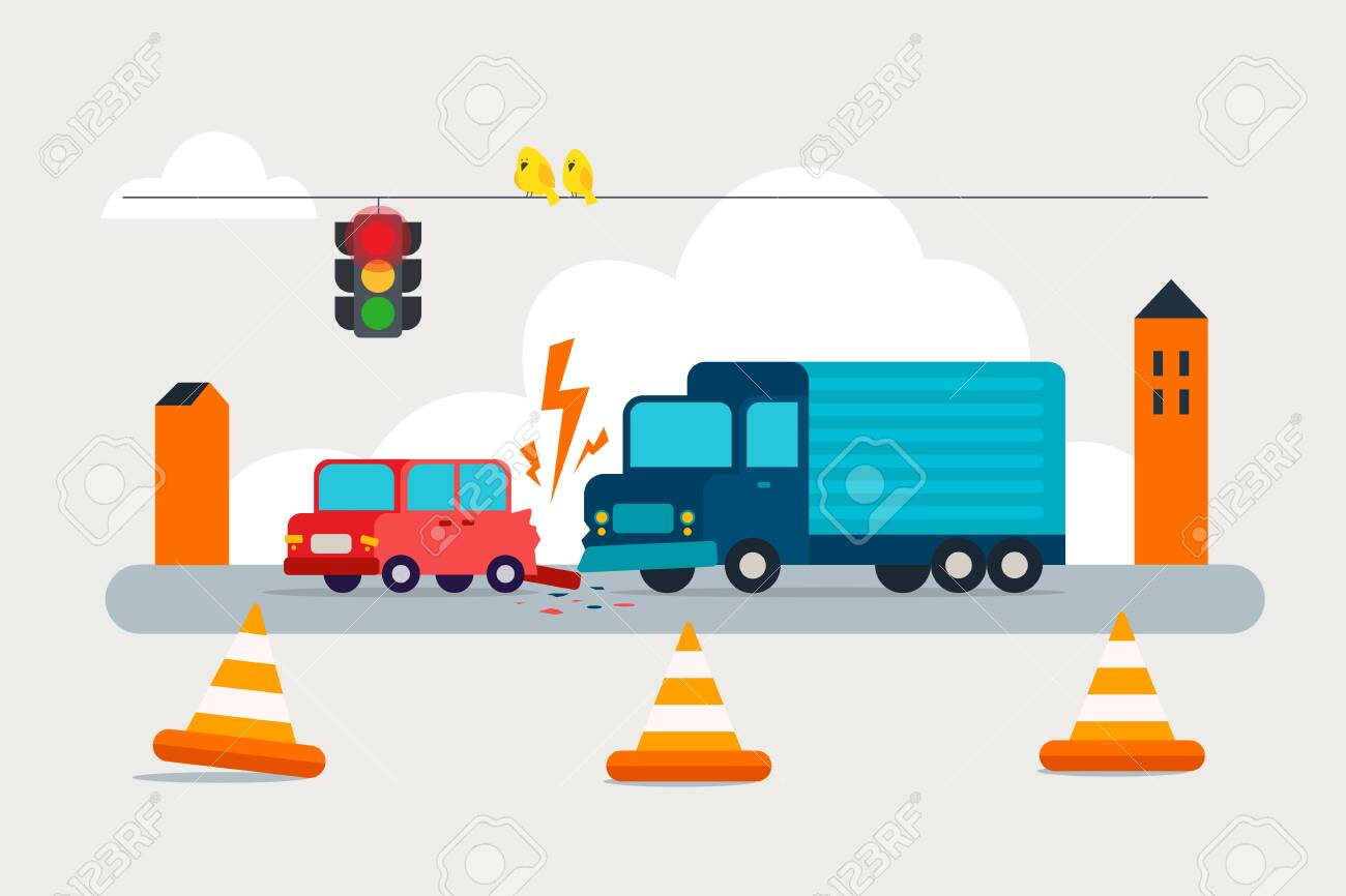 Accident on road. Collision truck and passenger car.Failure to respect traffic rules. Flat vector illustration. - 151370625