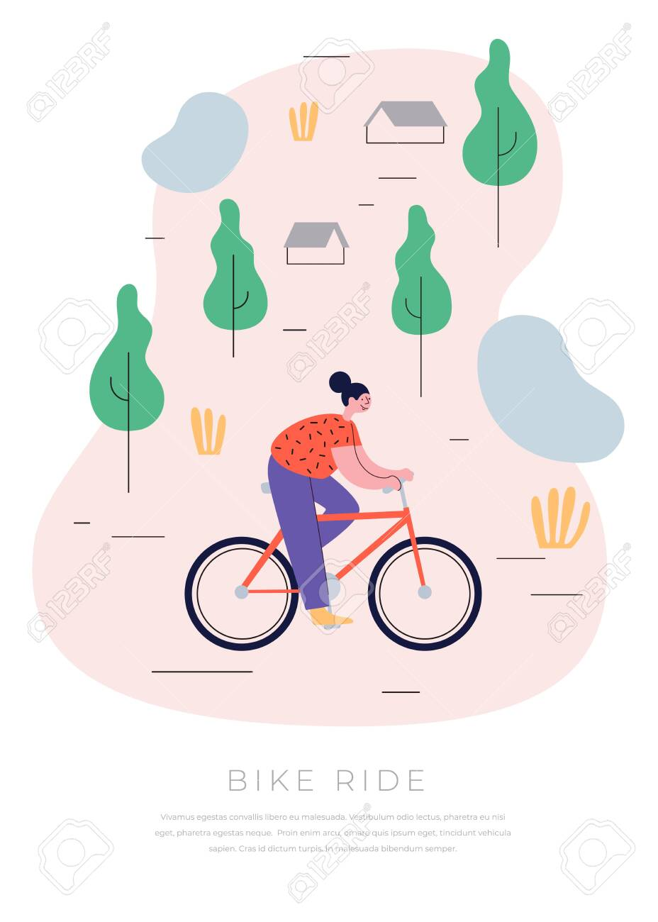 Young cheerful girl riding her bike through the countryside. The concept of an active lifestyle. Ecological mode of transport. Vector illustration in trendy flat style. - 151370613