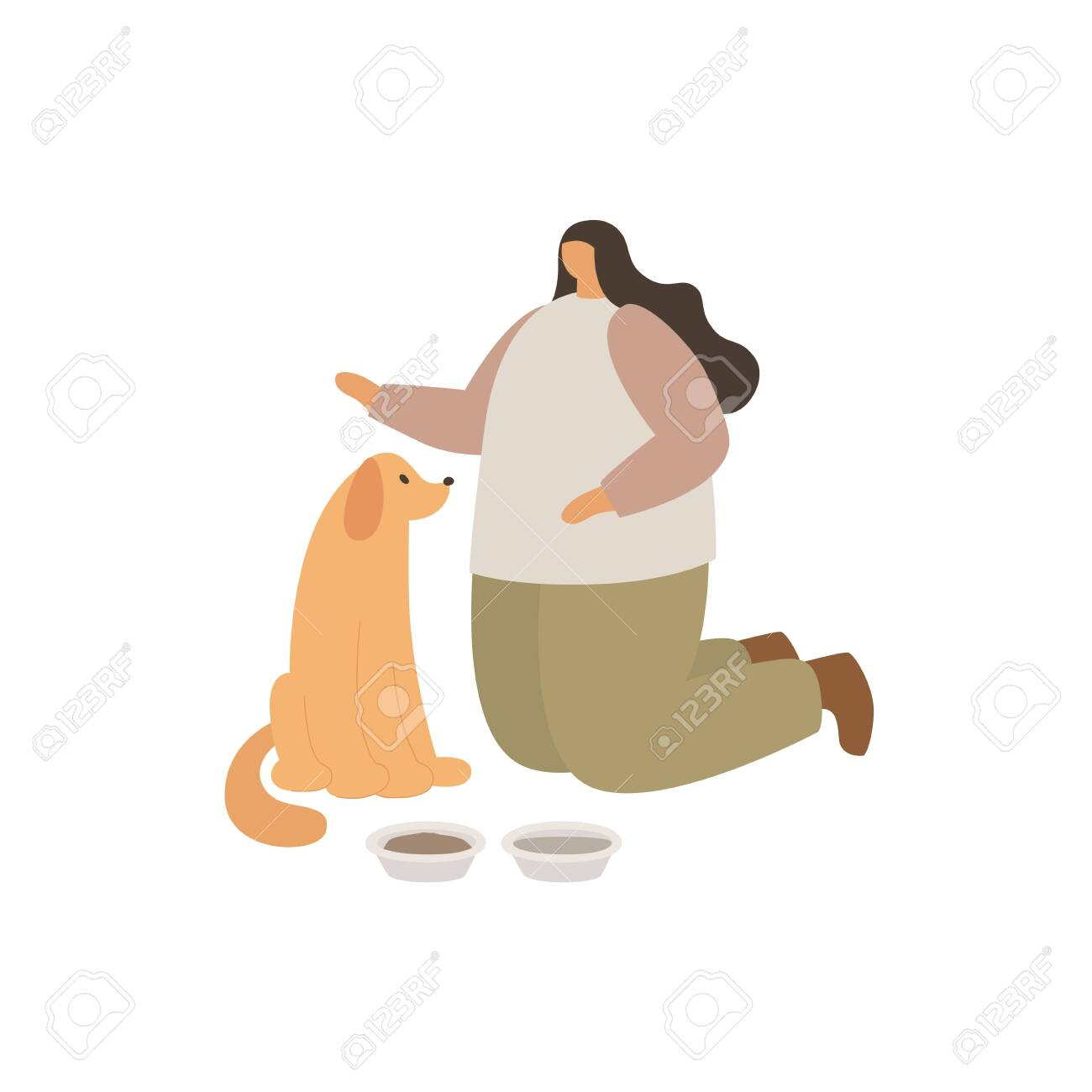 A young girl feeds her dog. Love to the animals. Training and education of pets. - 151407073