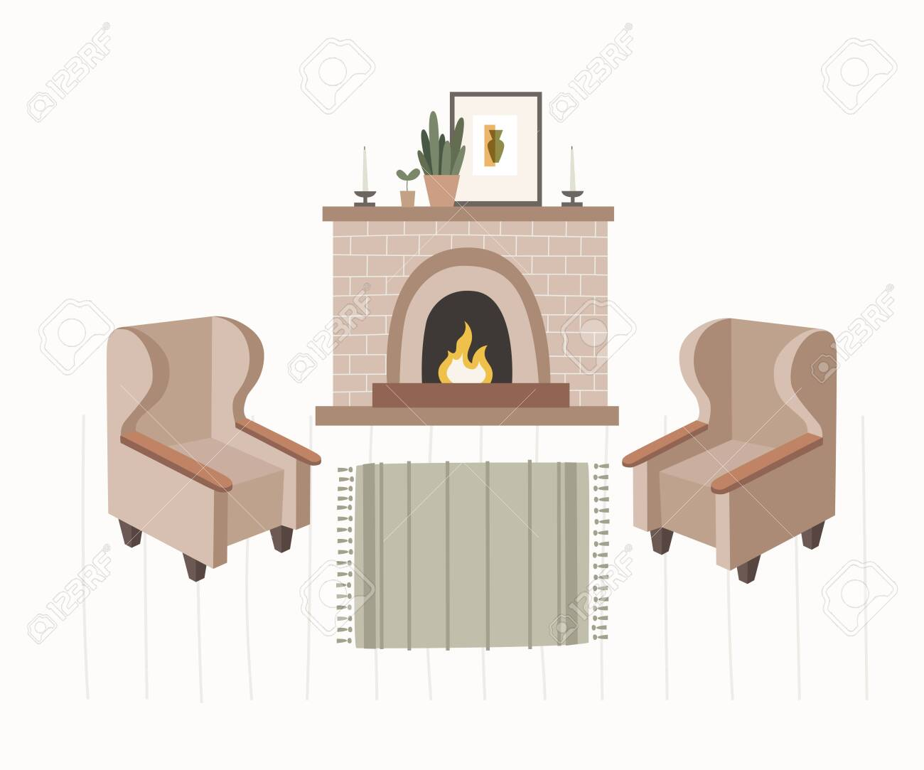 Collection of interior items of living room creating home comfort: fireplace with burning fire, soft armchairs, flower in pot, picture, carpet, candles. Vector illustration in trendy flat style. - 151373669