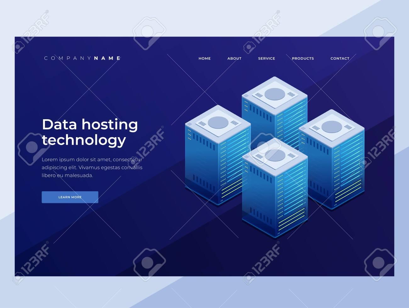 Internet equipment industry. Data transfer technology. Illustration of a network telecommunications server. 3D isometric design. Landing Page. - 151407076