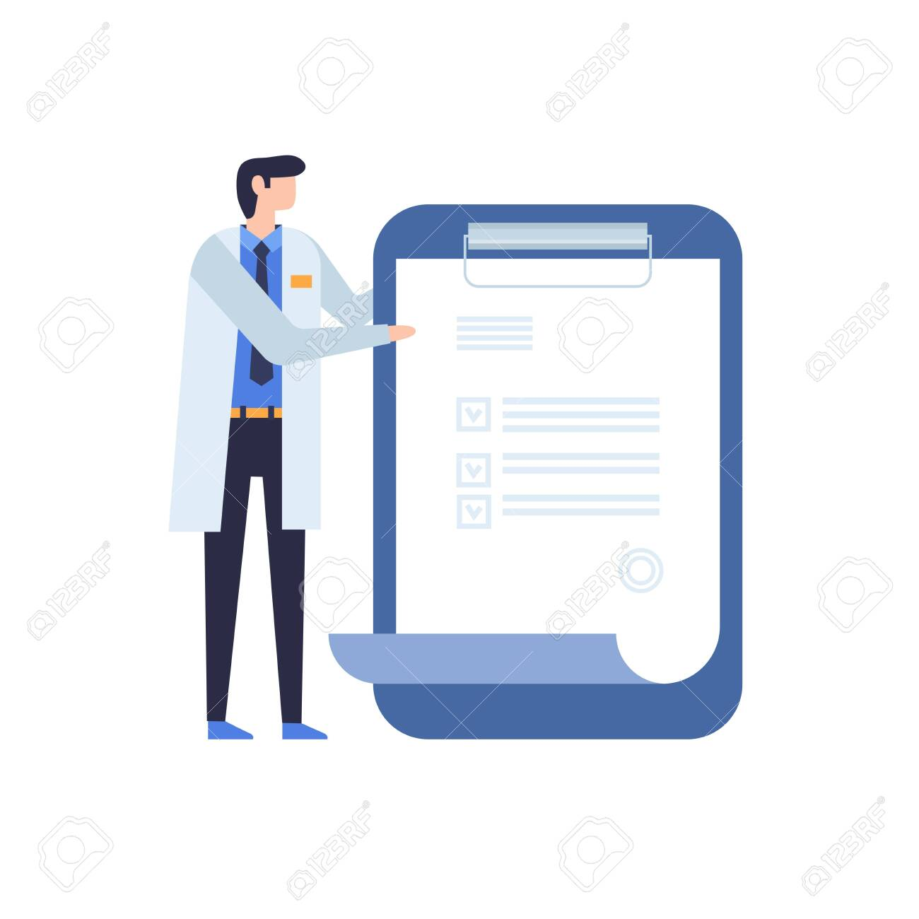 A doctor in a white coat shows a prescription on a tablet. The concept of treatment and examination in medicine. Vector illustration on white isolated background. - 151373204