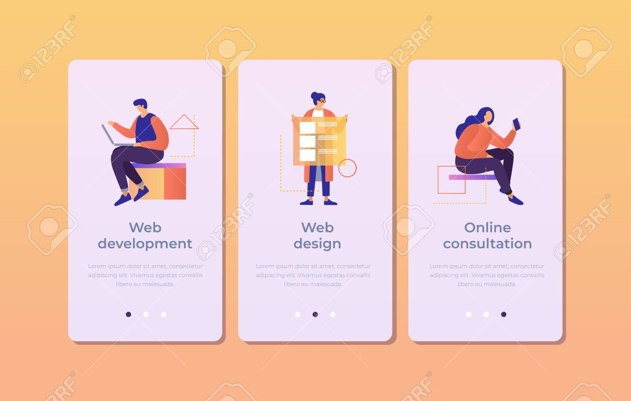 Set of onboarding screens for mobile apps. Banners with people working in web development, design, online consultation. Mobile UI UX app interface template. Vector illustration. - 151373700