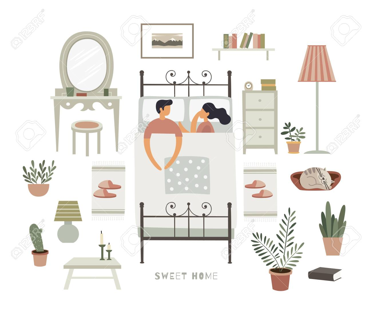 A man and a woman are sleeping together on a bed. A set of bedroom interior items creating a home comfort. Vector illustration in trendy flat style on white isolated background. - 151373716