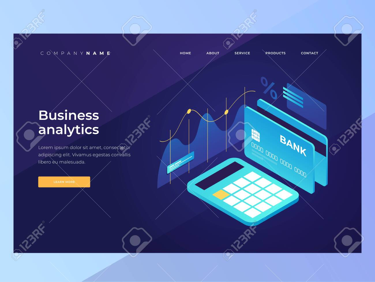 Online payments. Growth and income calculation, finance analysis. Isometric image of a calculator, bank card on a blue background. Landing Page. Vector illustration for web banners. - 151373549