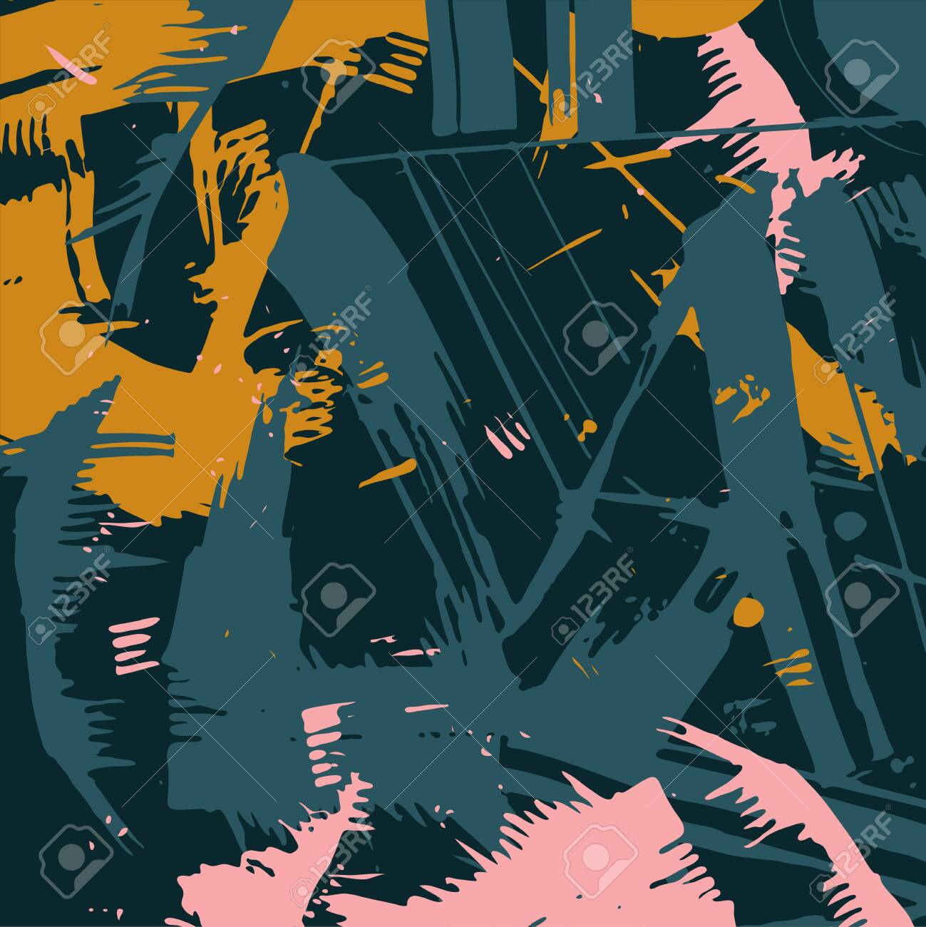 Abstract pattern. Various overlapping strokes. Can be used for designer backgrounds and packaging. Vector illustration. - 151373620