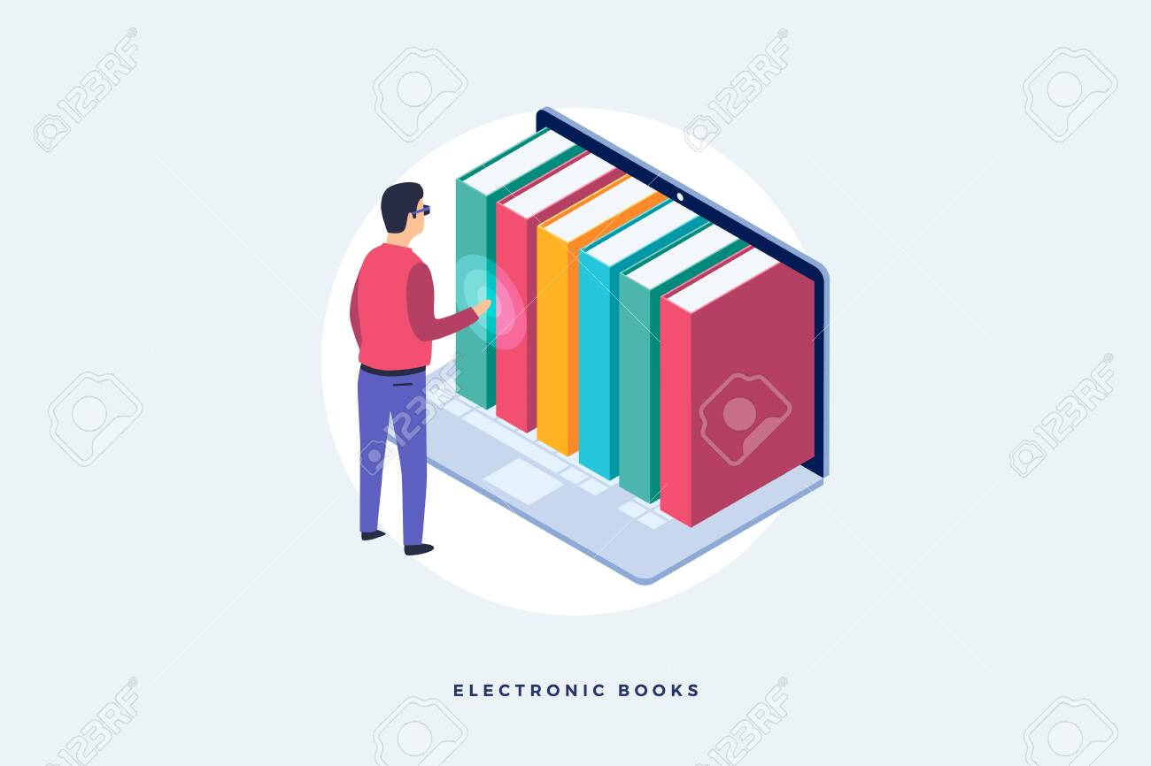 Concept of electronic books. An image of man standing in front of laptop and electronic books. Isometric vector illustration. - 151380557