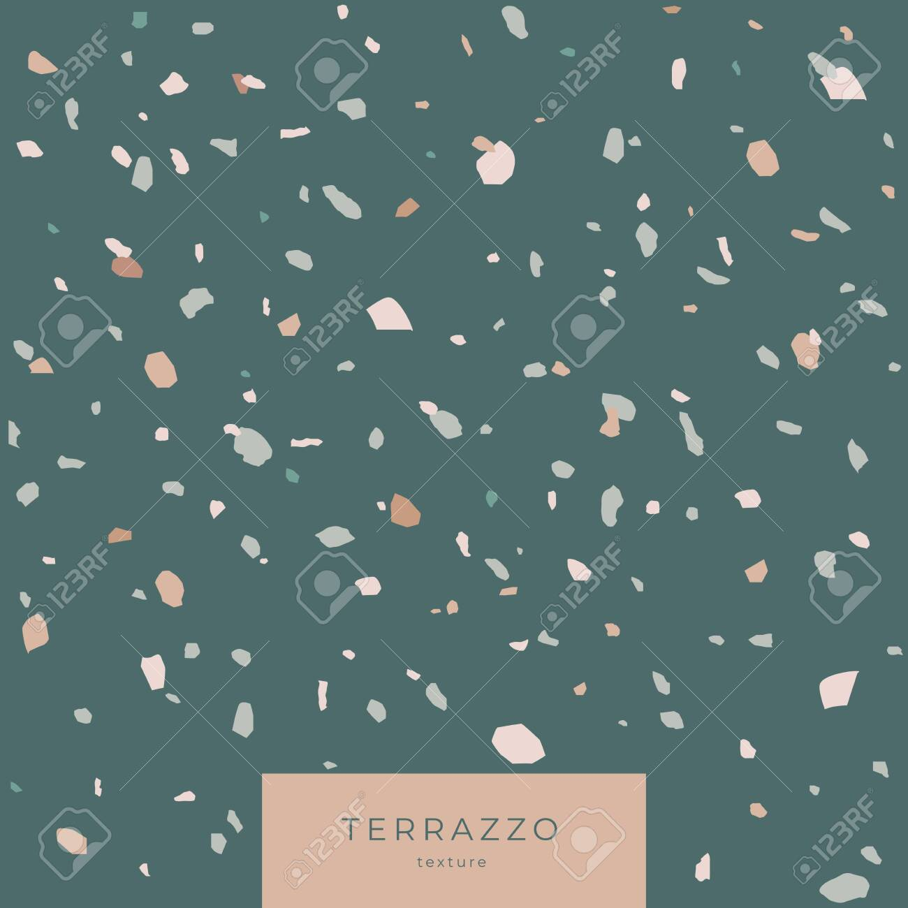 Texture Terrazzo in green colors. Classic italian cover composed of natural stone and concrete. Vector illustration. - 151373622