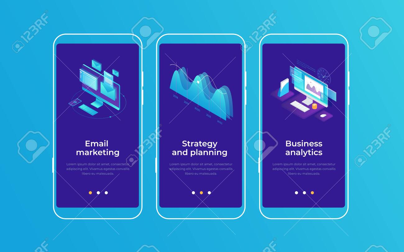 Set of onboarding screens for mobile apps. Banners with monitors screen and graph demonstrating email marketing, business planning and analytics. Mobile UI UX app interface template. - 151407082