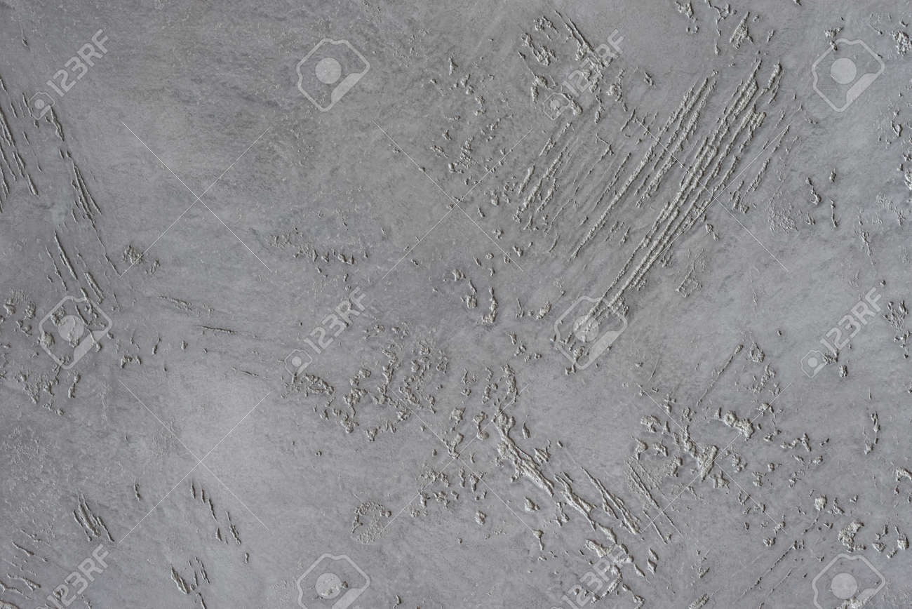 Textured gray background. Decorative gray stucco imitating an old scratched wall. Interior wall decoration with cement. - 152170071