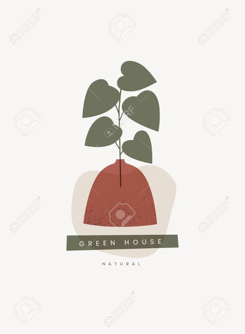 Card or poster with green sprout in a vase. - 153172160