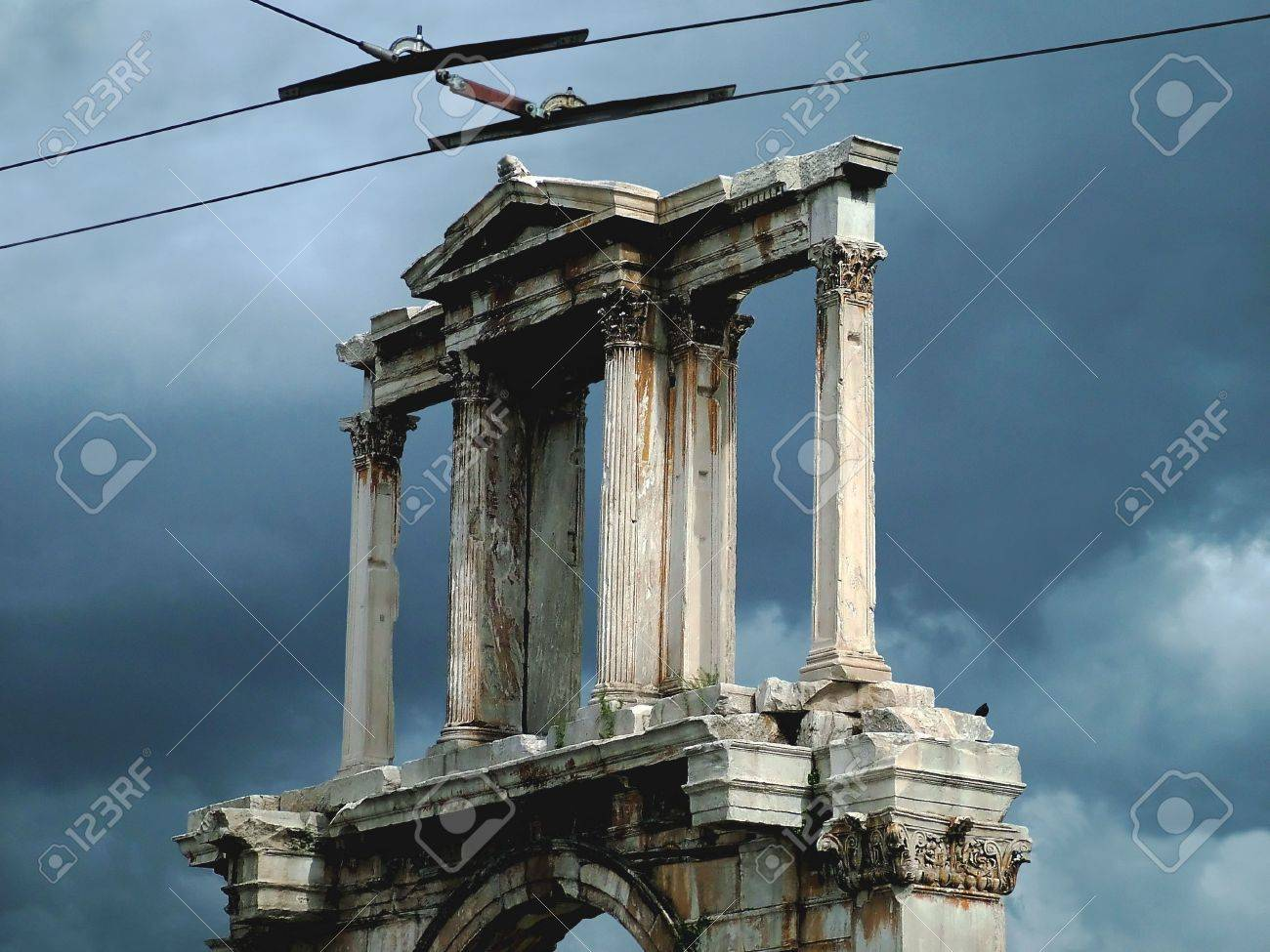 The Temple Of Zeus, Ancient God. Above, Overhead Wires From A ...