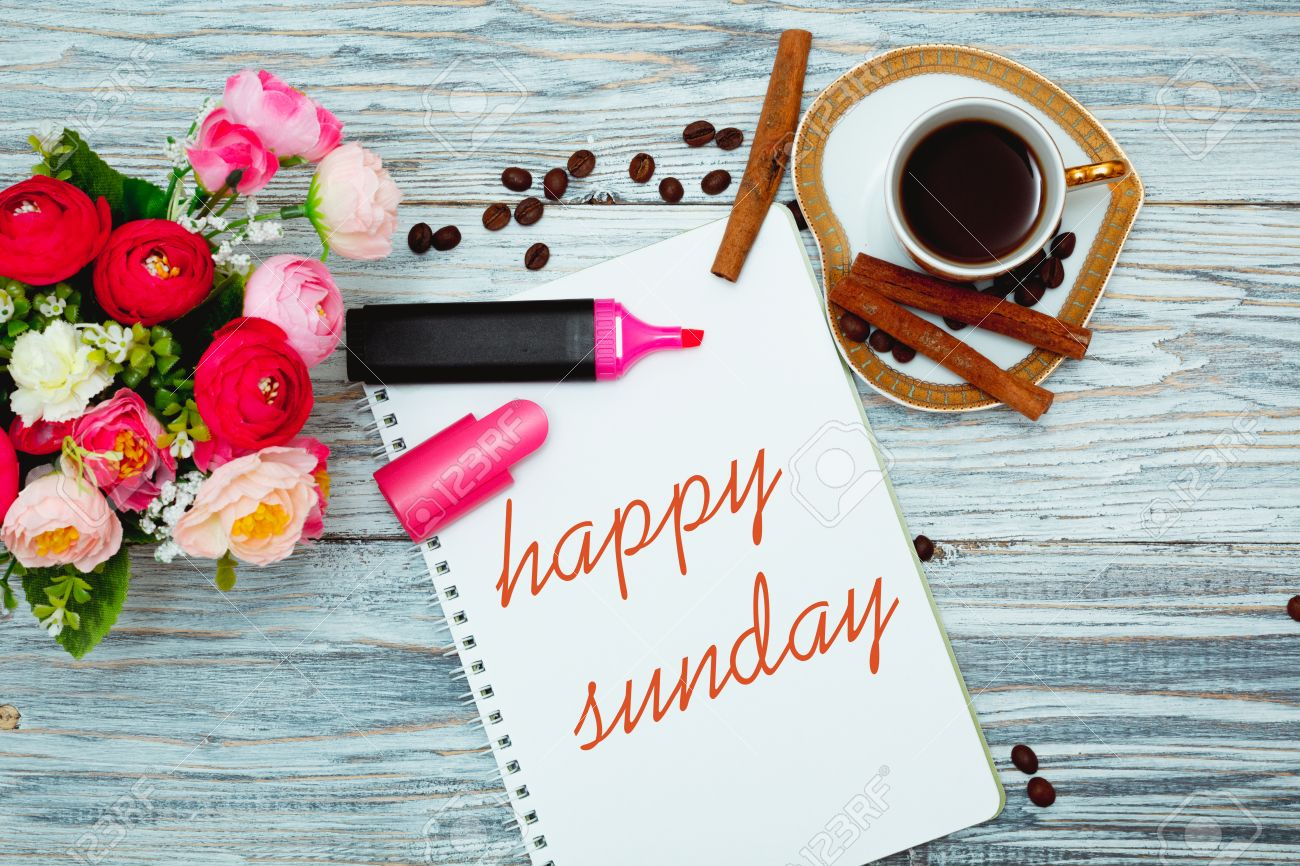 happy sunday with a cup of coffee flat lay stock photo picture and