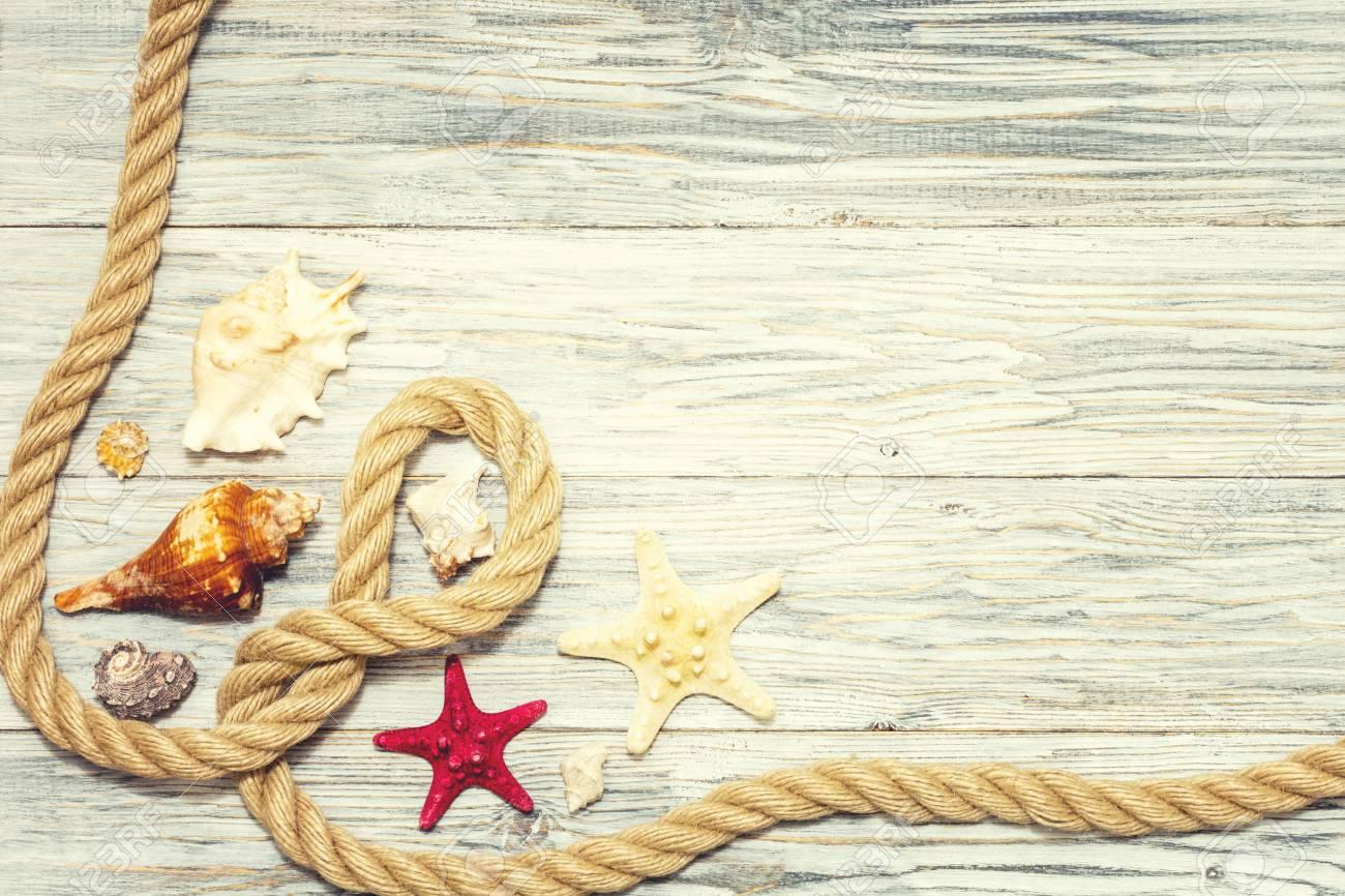 Background with starfish and marine rope - 96930925