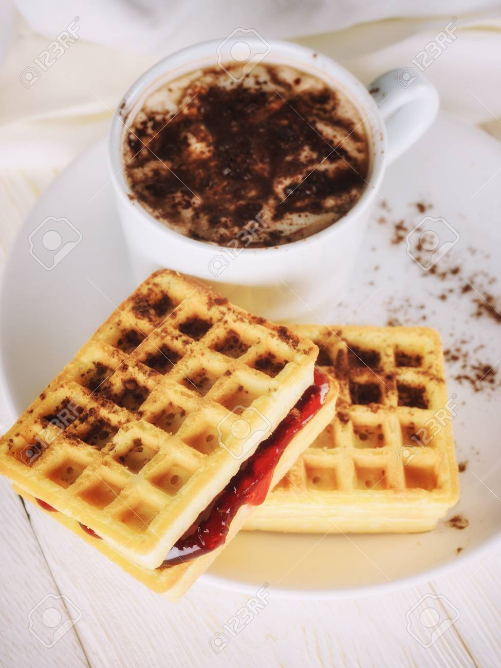 waffles with jam and cup cacao - 102961440