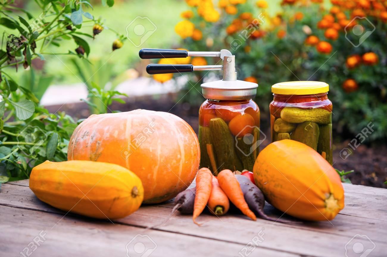 Kitchen Garden Preserves Autumn Preserves And Fresh Organic Vegetables In Kitchen Garden