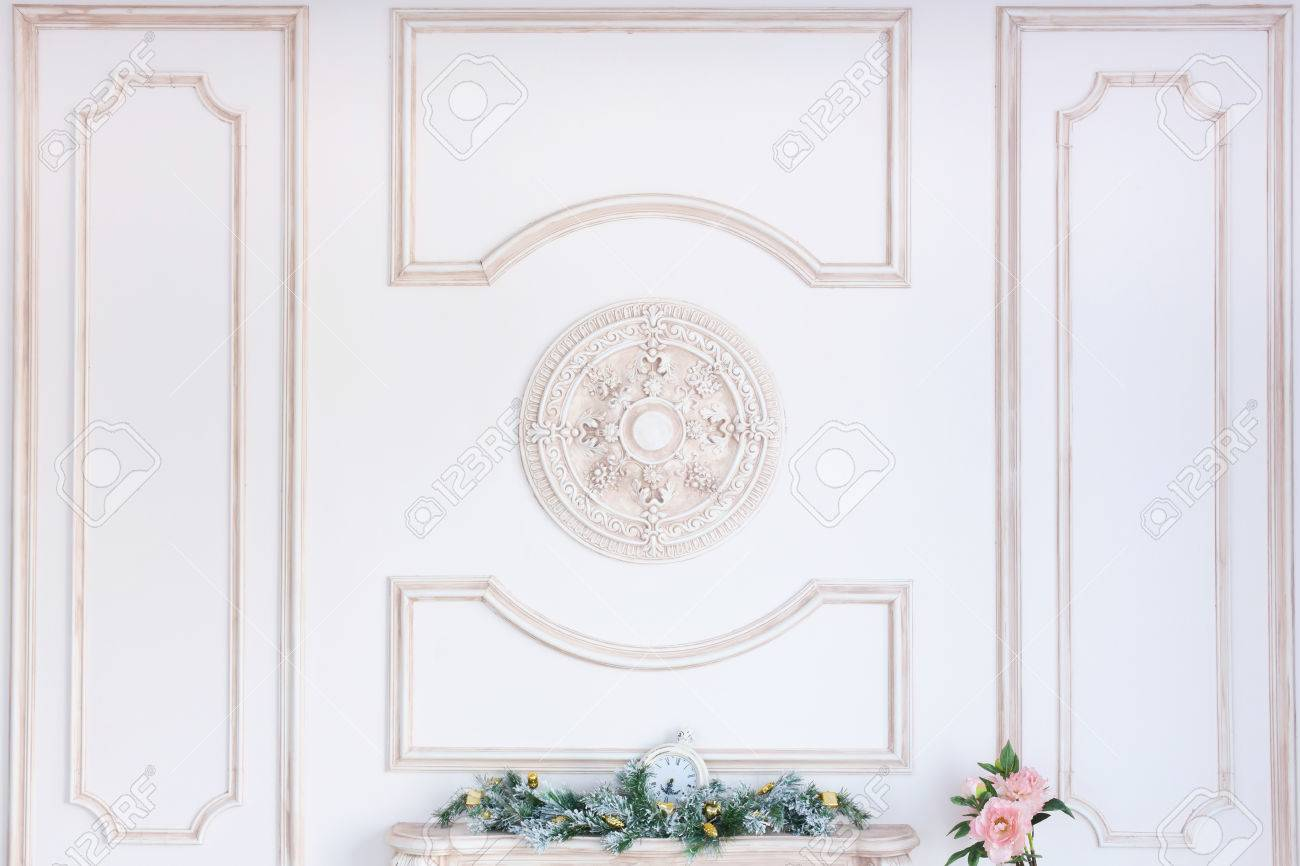 Beautiful Ornate White Decorative Plaster Moldings In Studio Stock Photo