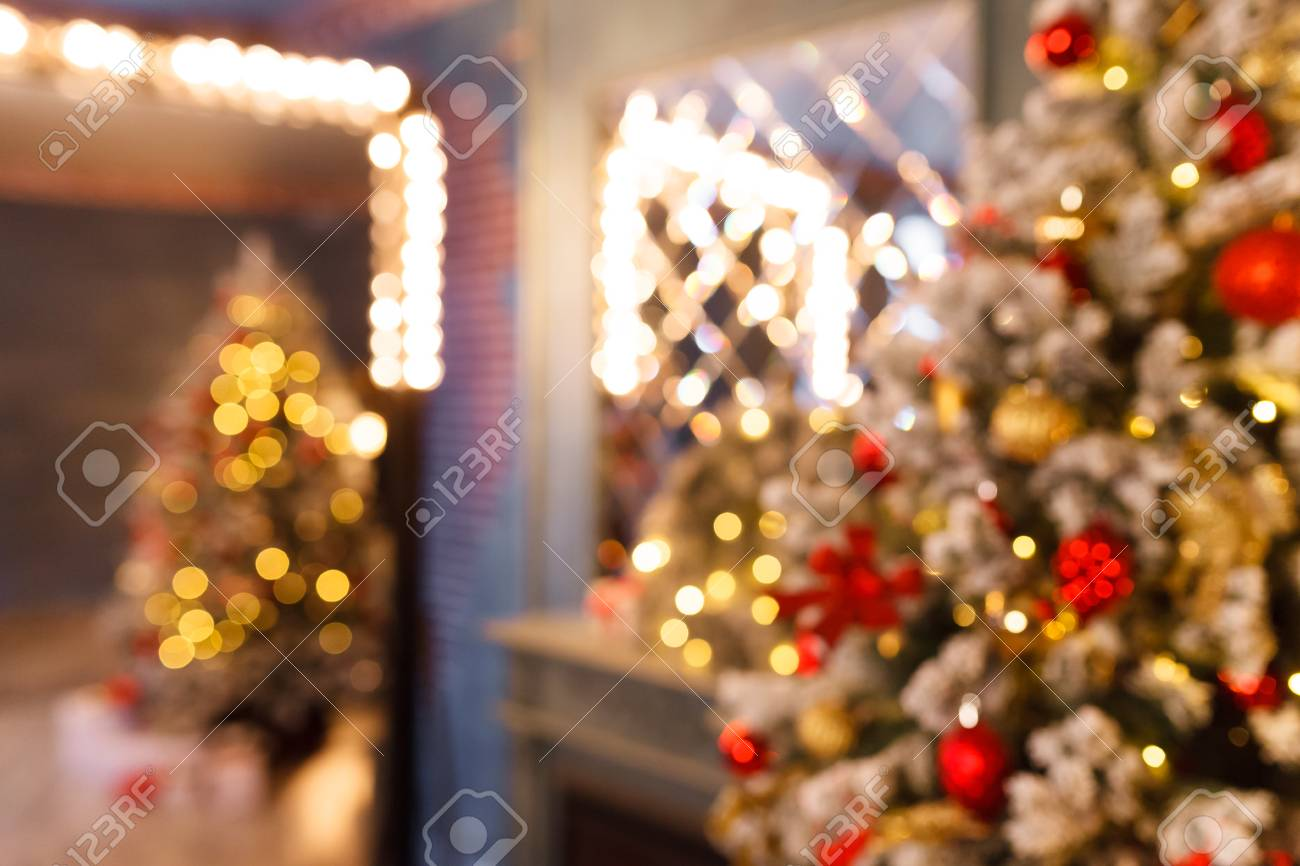 Christmas Home Room With Tree And Festive Bokeh Lighting Blurred Stock Photo Picture And Royalty Free Image Image 90314275