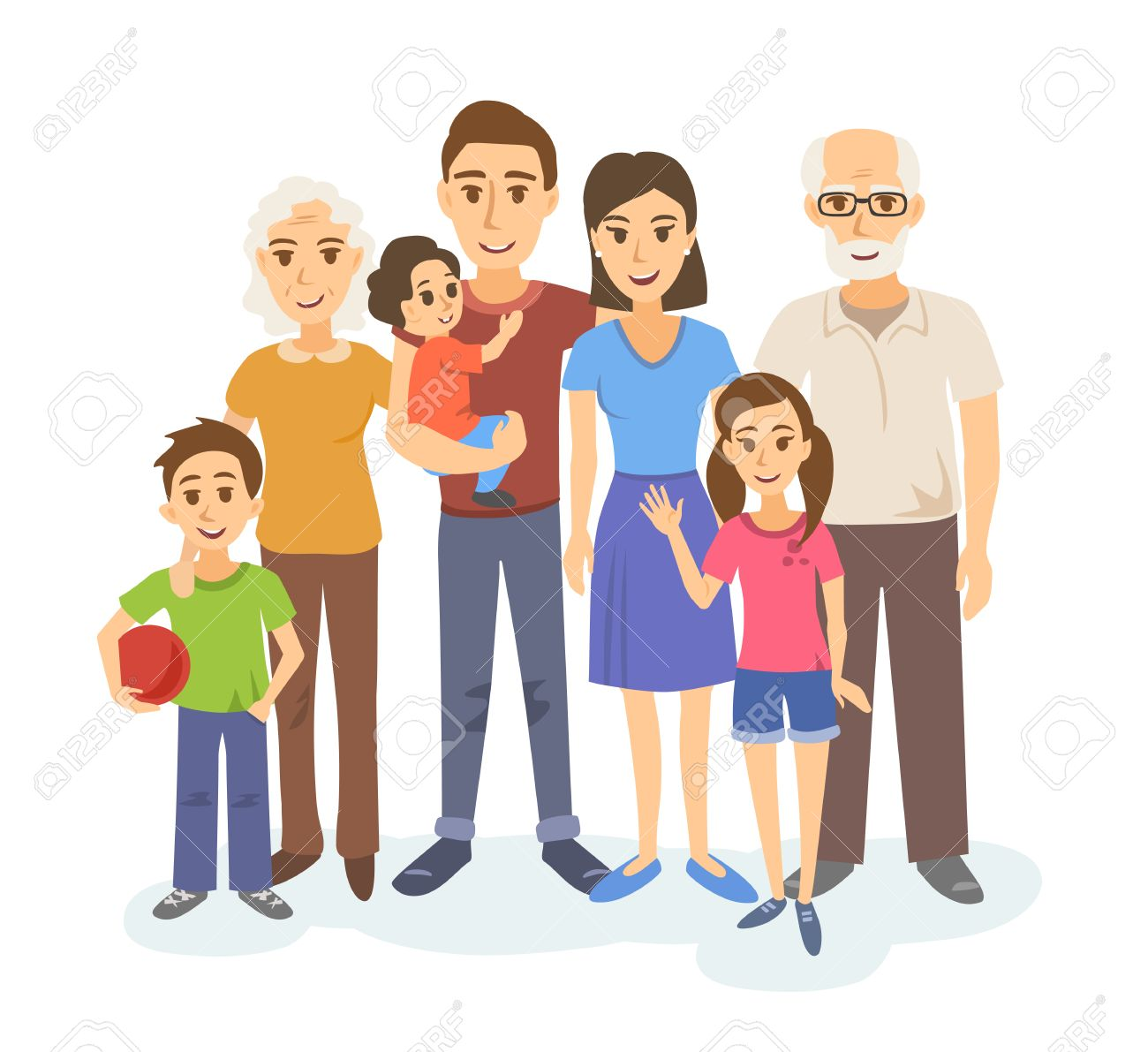 Cartoon Portrait Of Big Family Mother Father Grandparents Royalty Free Cliparts Vectors And Stock Illustration Image 64302270