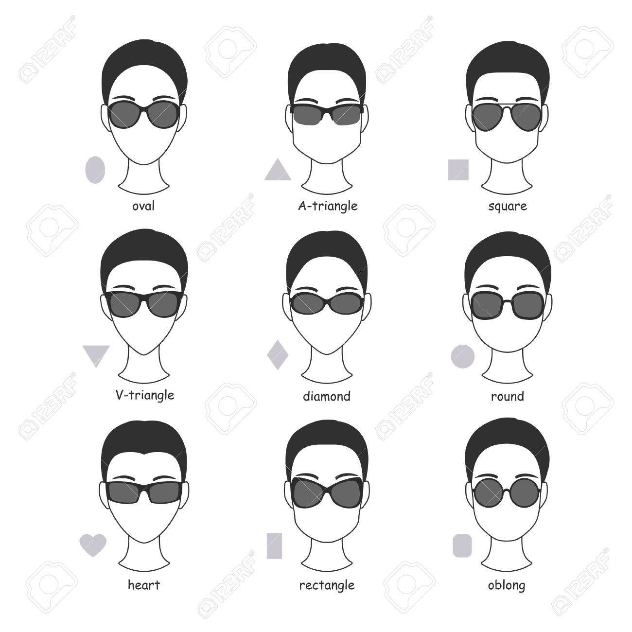 Set Of Silhouettes Of Various Types Of Sunglasses. Faces Shapes ...