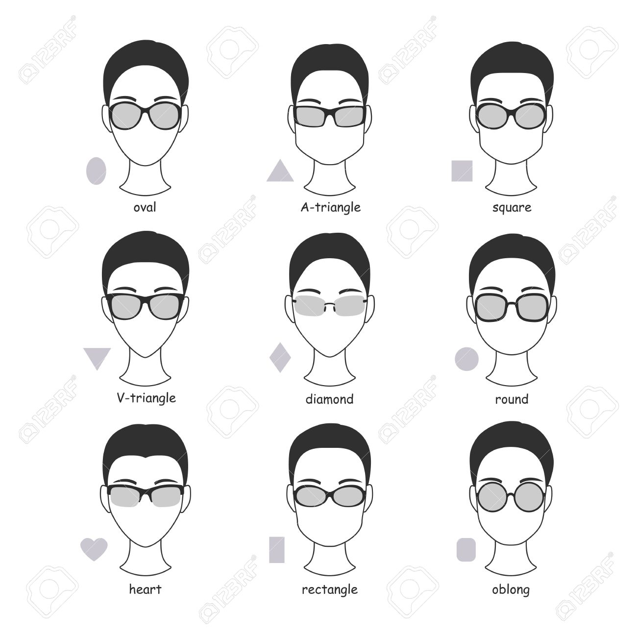Set Of Silhouettes Of Various Types Of Spectacle Eyeglasses ...