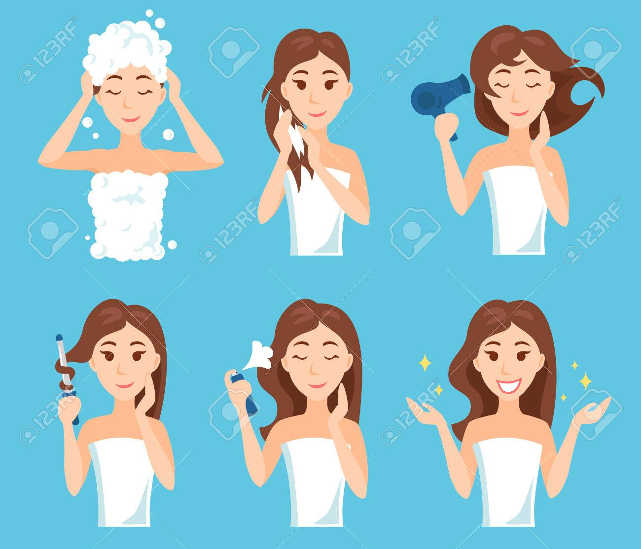 Attractive Young Woman Wash Care And Style Her Hair Hair Treatment Royalty Free Cliparts Vectors And Stock Illustration Image 79167080