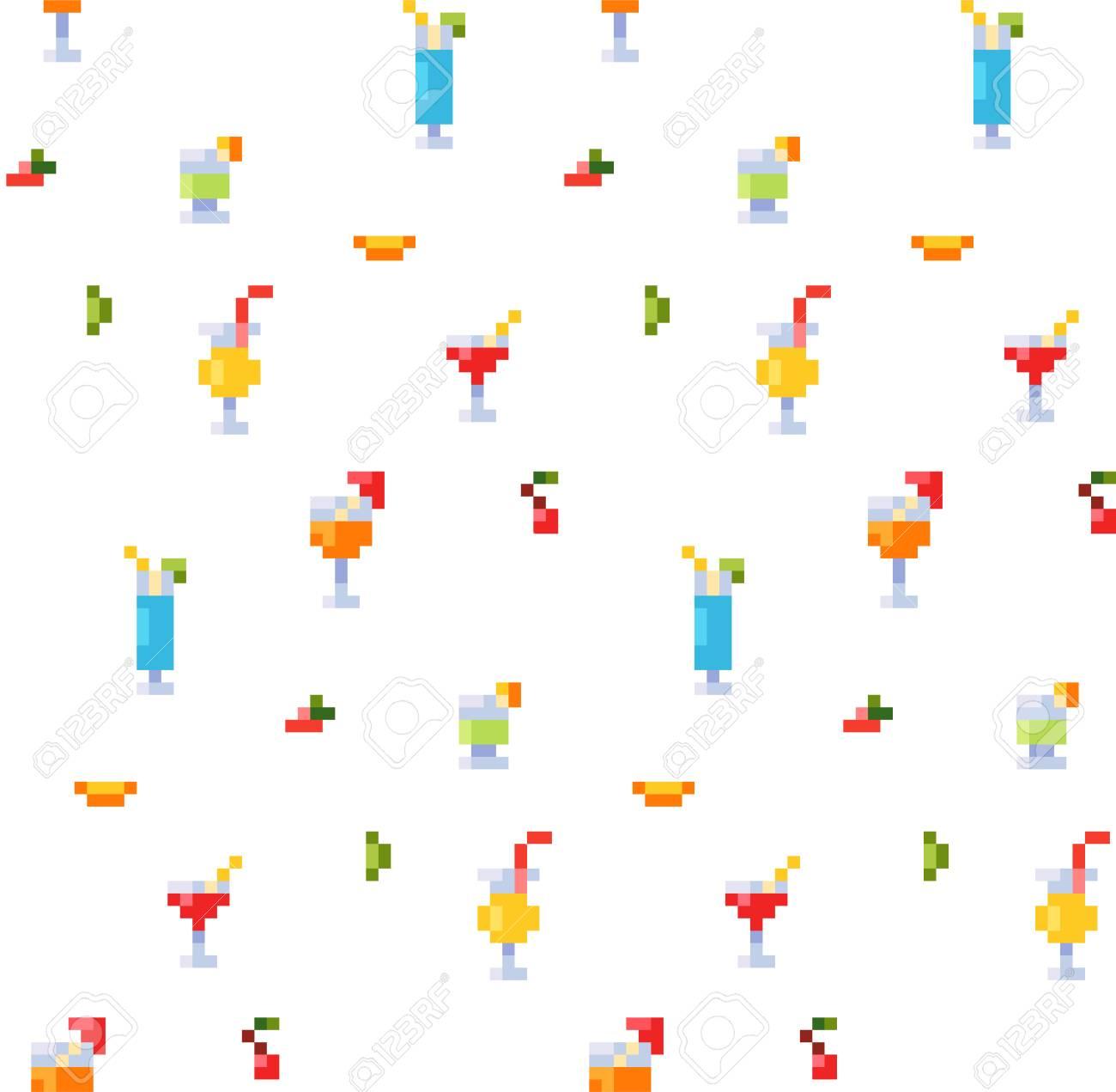 Pixel Art Style De Style De Glace Et D 39 Eau Boissons Alcoolisées Et Pommes De Terre Transparente