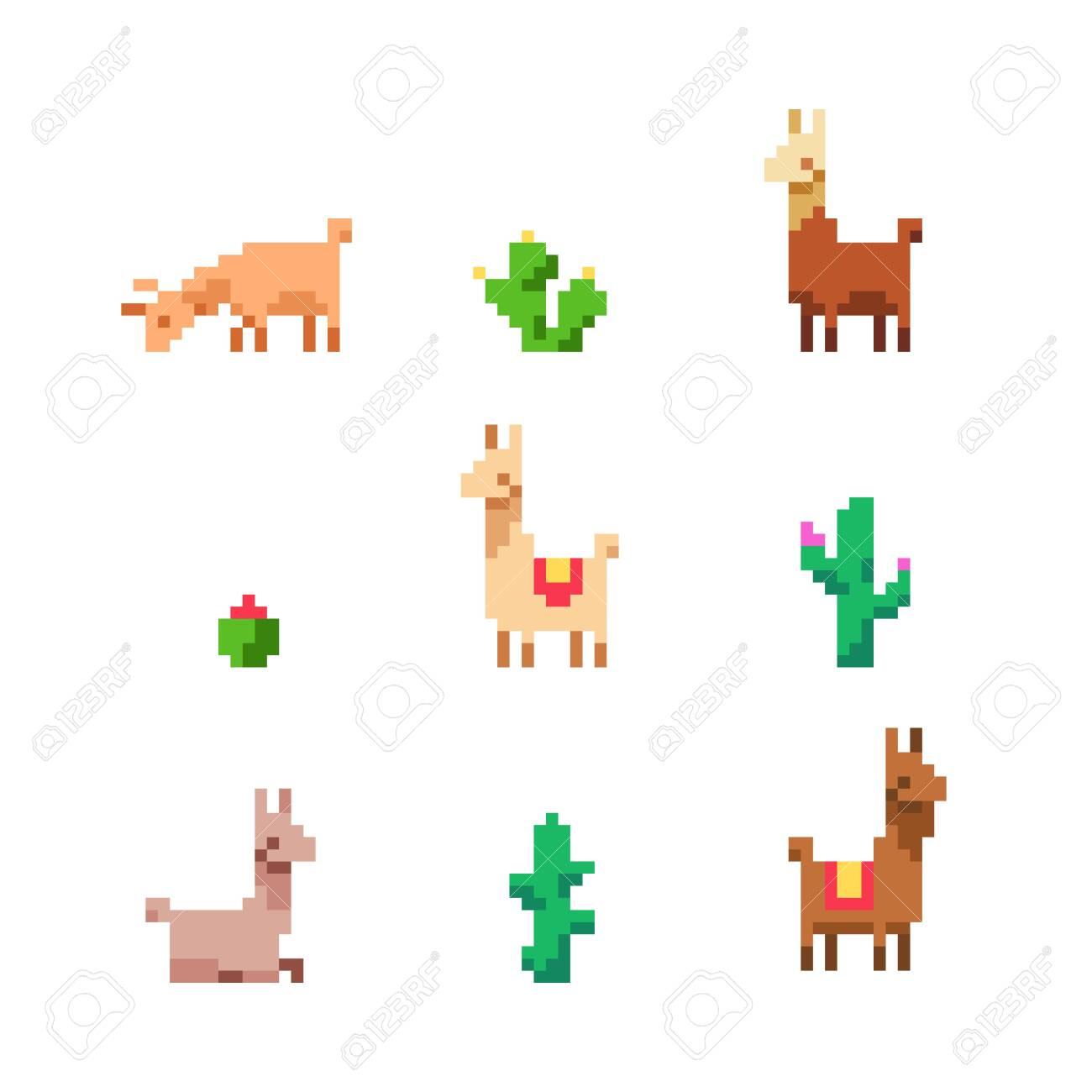 Set Of Cute Pixel Art Lamas And Cacti On White Background Royalty Free Cliparts Vectors And Stock Illustration Image 147698050