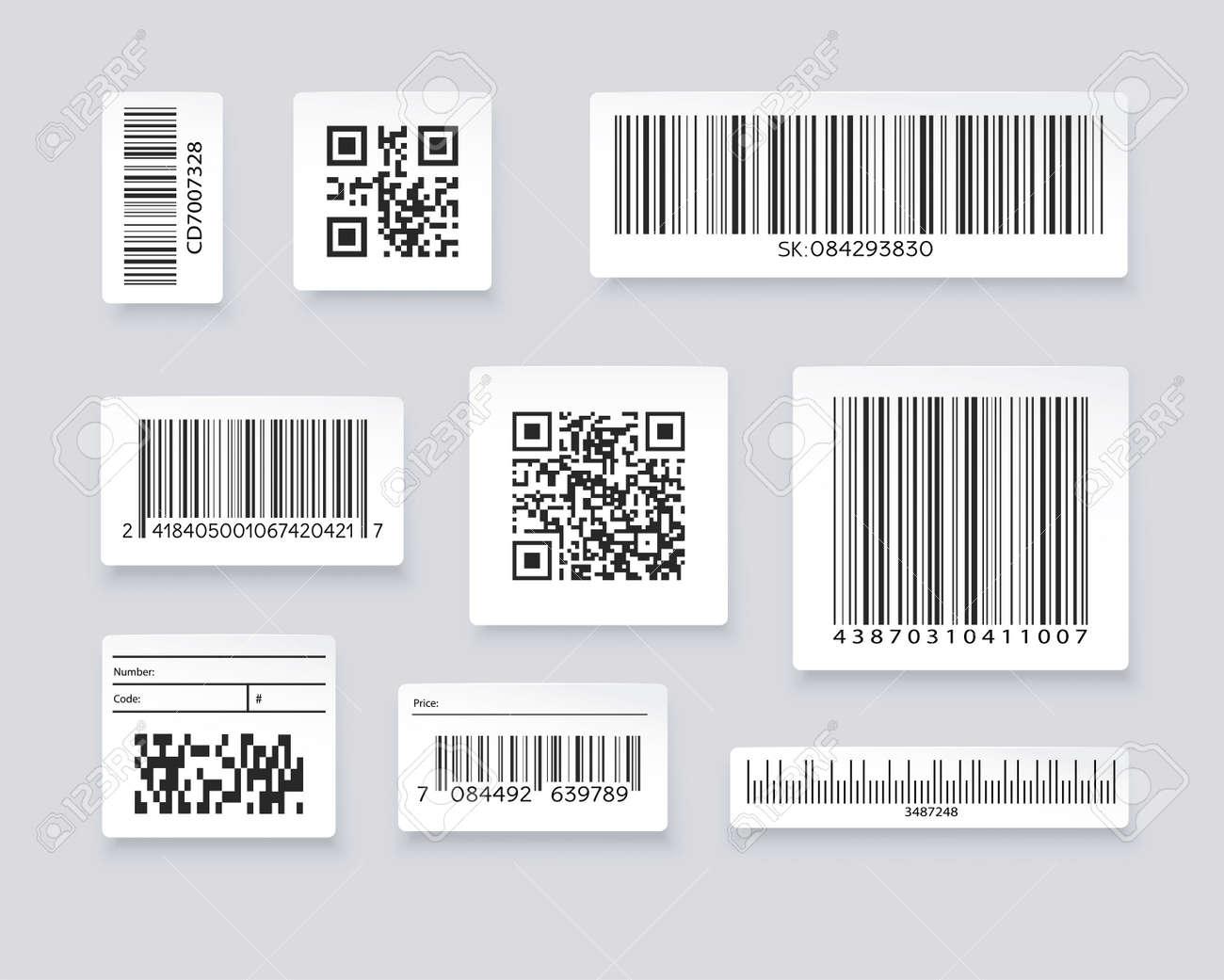QR codes and barcode labels. Supermarket scan code bars, industrial barcode labels. Barcode label for scan, bar code sticker, vector illustration - 152478150