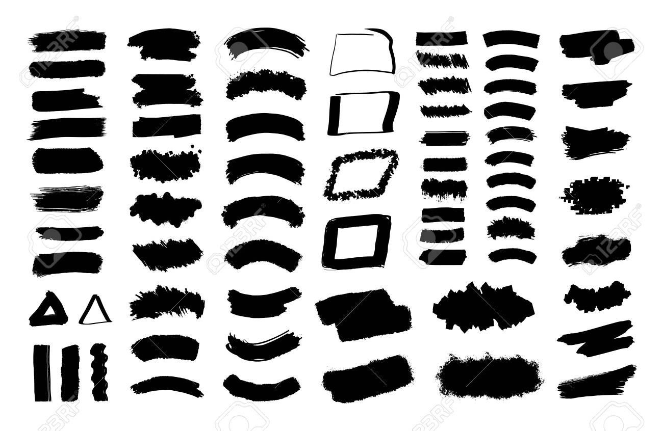 Black spots. Collection of black paint, ink brush strokes, brushes, lines, grungy. Vector set. - 152452334