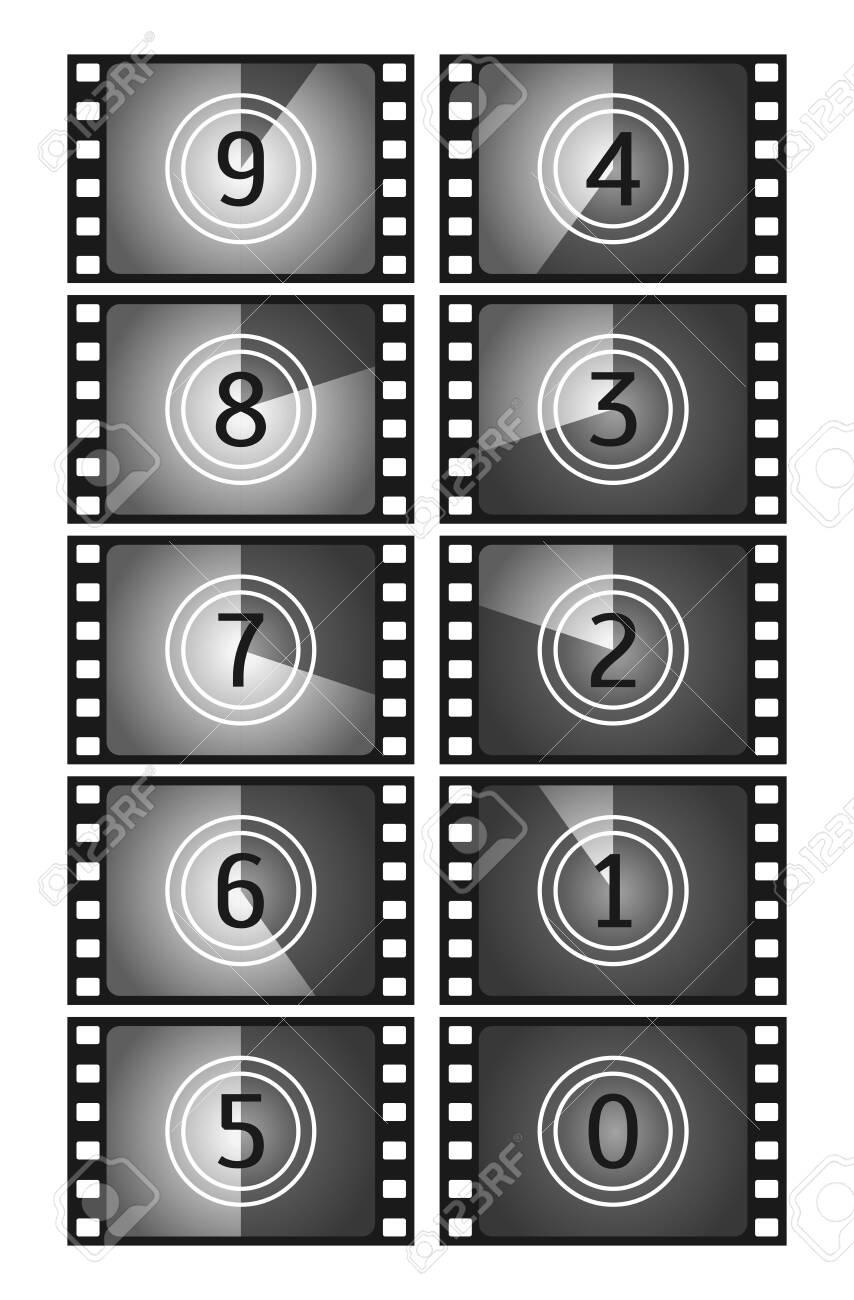 Movie countdown frame. Vintage silent film and blank full frame still photography film. Old film movie timer count. Vector illustration - 152478069